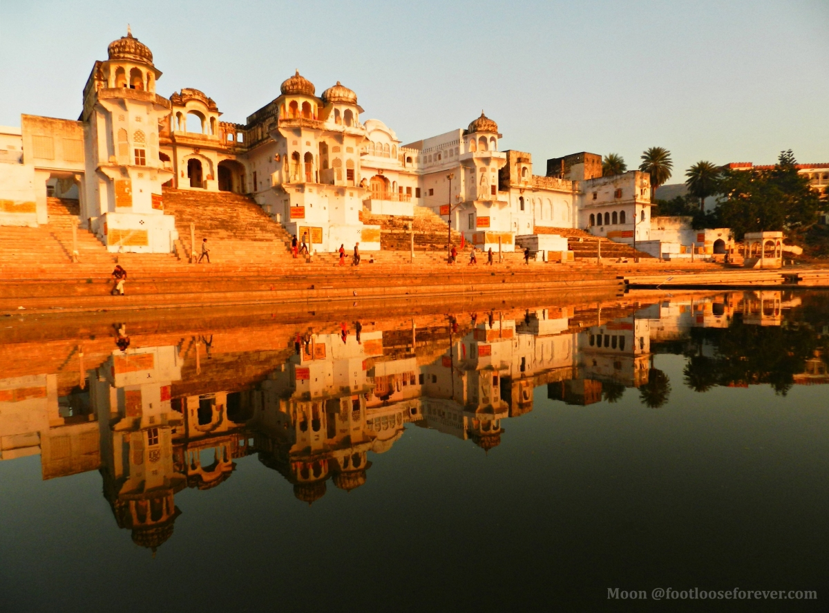 pushkar lake, holy lake pushkar, temples in pushkar, symmetry