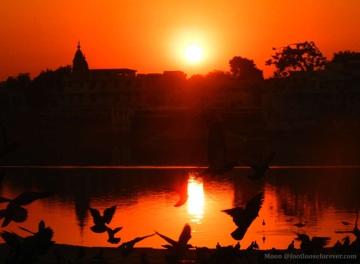 Pushkar sunset, sunset at holy lake Pushkar