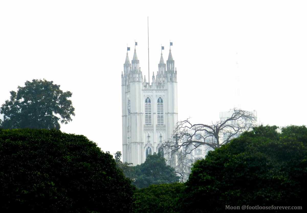 st paul's cathedral, church steeple n from Victoria Memorial, kolkata