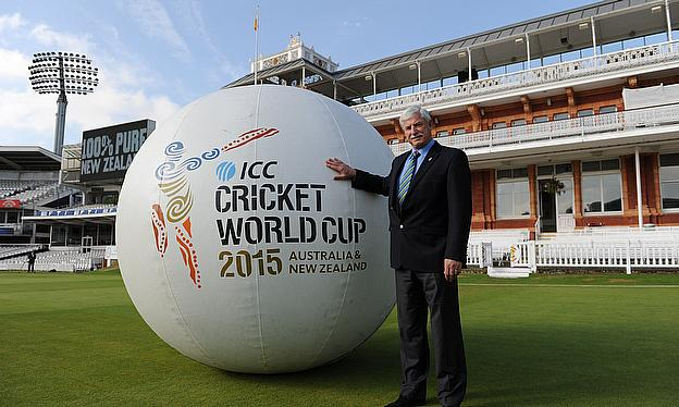 sir richard hadlee with giant icc cricket world cup 2015 ball at lord's