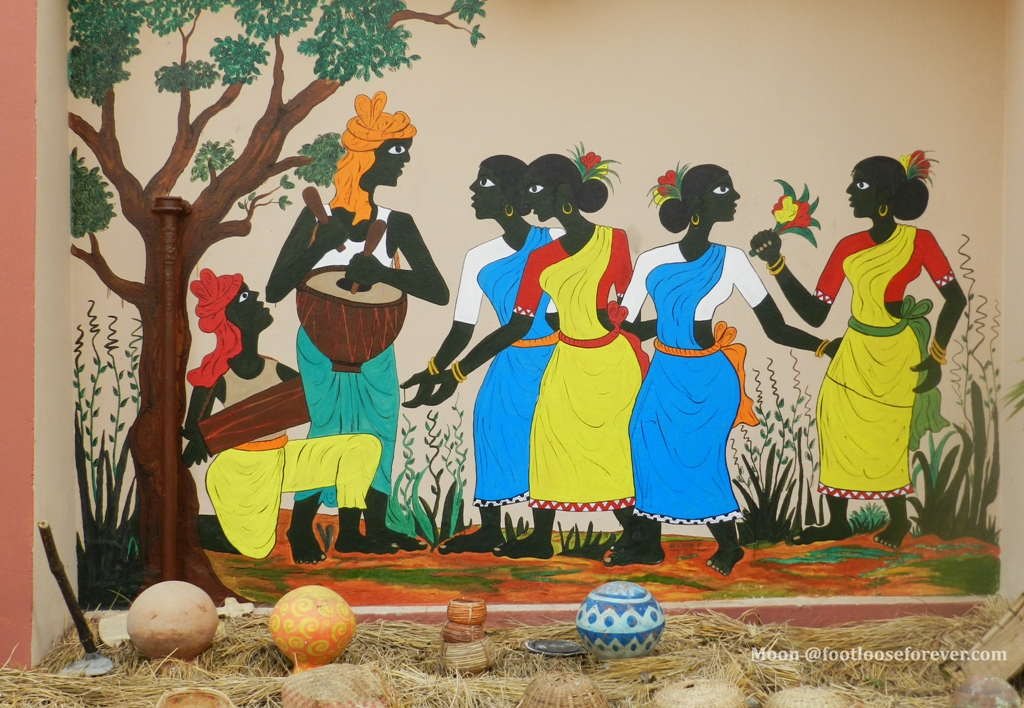 Shantiniketan EZCC wall painting, tribal life