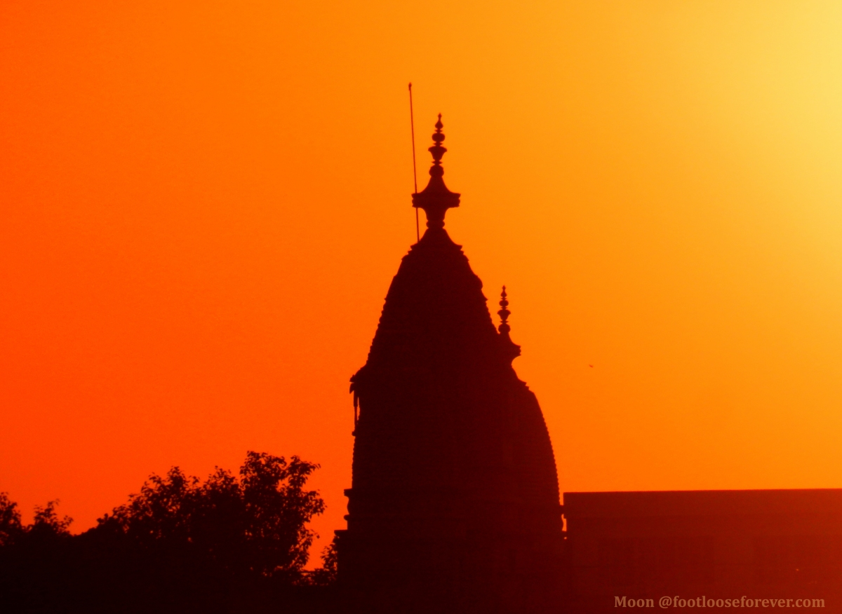 temple, silhouette, pushkar, sunset