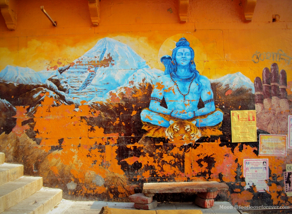 wall painting in varanasi, banaras, lord shiva