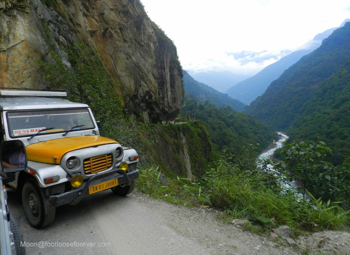 mountain road, road trip, hills, river, sikkim