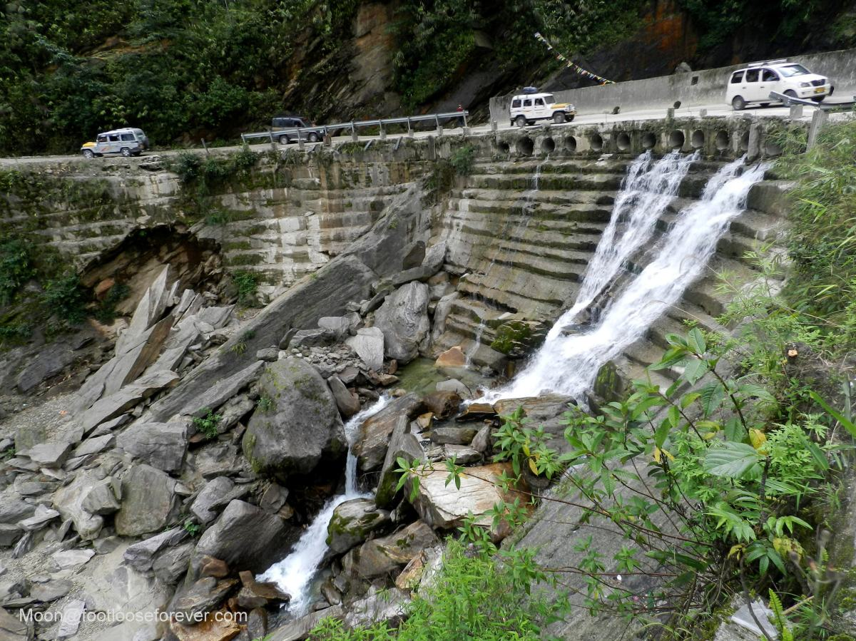 waterfalls, mountain road, lachung, sikkim