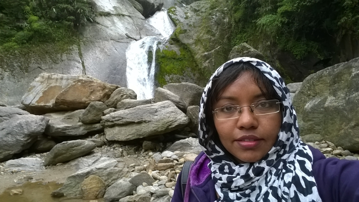 selfie at waterfall