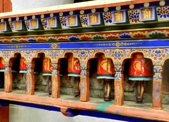 prayer wheels, kichu lhakhang, paro, bhutan
