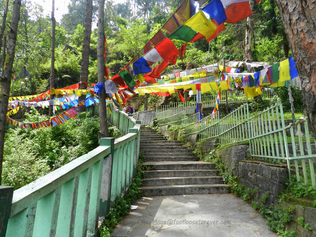 stairs, prayer flags, suicide point, gangtok, sikkim,
