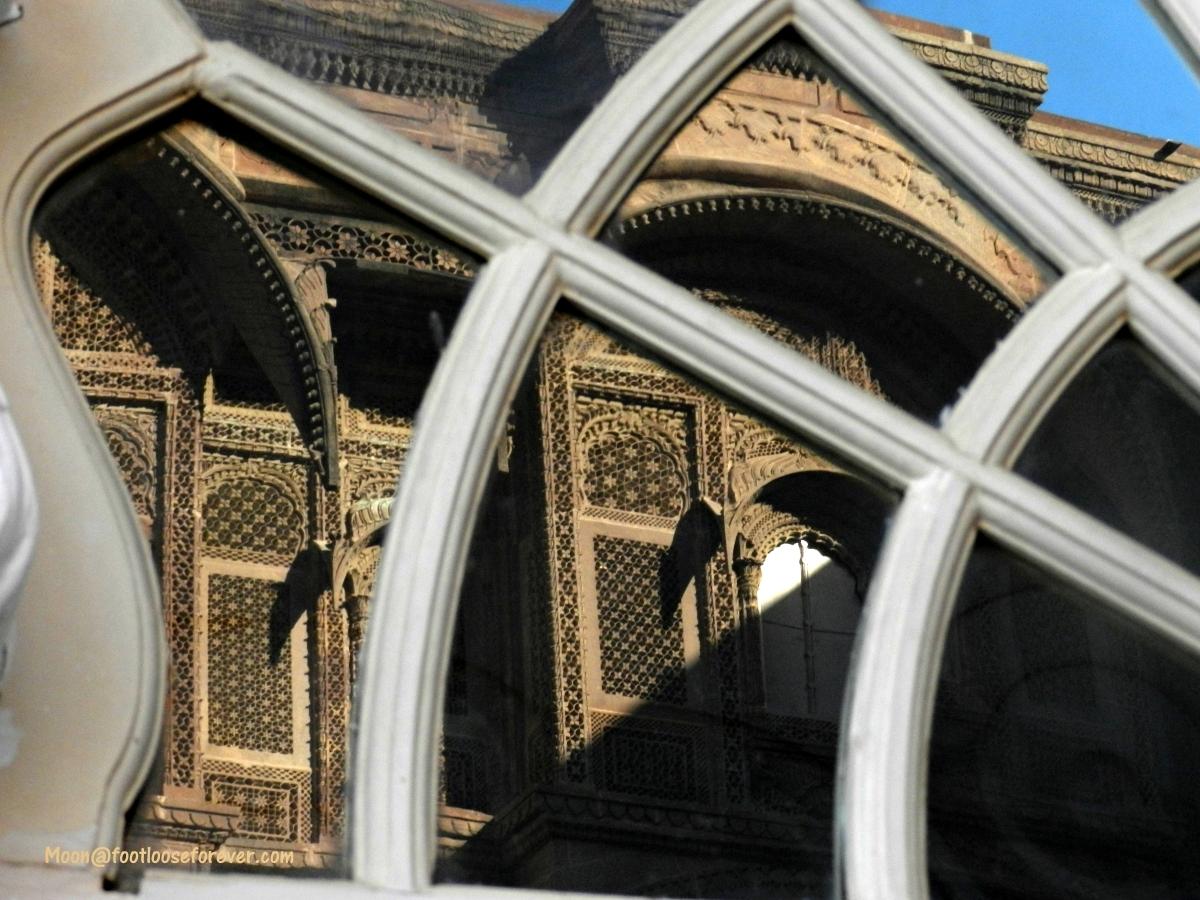 reflection, window, palace window, rajasthan, jodhpur
